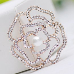 Wholesale Large Pearl Pins - Wholesale- New korea jewelry style rhinestone flower brooch pins for women simulated pearl large brooches