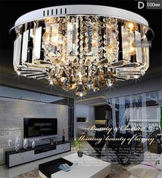 lustres de cristal au plafond moderne Promotion Lustres en cristal moderne simple design haut de gamme K9 rond lustre led lustres de plafond éclairage salon chambre luminaire