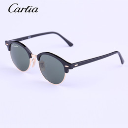 Wholesale Original Authentic - Carfia round Authentic 4246 Sunglasses 2016 New Arrival 51mm Women Sunglasses Plank Frame Flash Mirror Lenses with Original Box FreeShipping