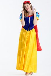 Wholesale Womens Costume Xxl - Women 2017 Snow White Cosplay Costume Carnival Party Dress Womens Adult Princess Halloween Theme Costume