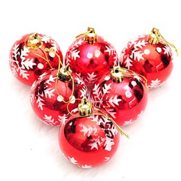 Wholesale 6cm Blue Christmas Ball - 6CM Christmas tree ornaments Electroplating Snow ball Colorful Plastic Balls Hanging Xmas Decoration Light Wedding Decorations 24pcs lot