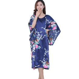Wholesale Chinese Ladies Dresses - Wholesale- 2016 Batwing Sleeve Satin Robe Chinese Style Sexy Bathrobe Robes Vestido Printed Silk Dressing Gown Ladies Pijama Women Clothing