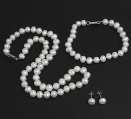 Wholesale Silver Necklace Bracelet Elegant - Elegant 7-8mm Natural White Pearl Necklace 18 inch free Bracelet Earrings 925 silver