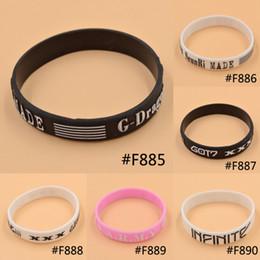 Wholesale Dragon Fans - Wholesale-KPOP Bigbang G-Dragon GOT7 BTS Bantam Boys Infinite Same Style Fan Made Silicon Bracelet Wristband