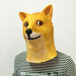 Trajes de deus on-line-Atacado-Funny Doge 3D máscara de látex Cosplay Halloween Costume Deus Dog