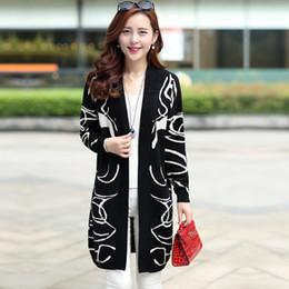 Wholesale B Cardigan - Wholesale- Korean version of fertilizer to increase size women fat MM spring knit cardigan B wool long sections loose sweater coat
