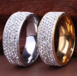 Wholesale Cz Wholesale Fashion Jewelry - 20pcs Quality Comfort fit 5 Rows Zircon Stainless Steel CZ Wedding Rings for Men and Woman Wholesale Fashion Jewelry Lots