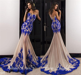 Wholesale lace bodice tulle skirt prom dresses - 2017 Sexy Prom Evening Dresses Mermaid Sweetheart Royal Blue Lace Applique Bodice Champagne Tulle Skirt Long See Through Skirt African Gowns