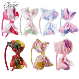Wholesale Hair Stain - 7pcs  Lot Scotland Style Stain Ribbon Hair Bow With Hair Band Handmade High Quality Girl Hairbands Kids Hair Accessories