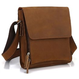 Wholesale Crazy Horse Cross Body Bag - 2017 New High Quality 100% Genuine Leather Handbags Crazy Horse Leather Sling Bag Men Messenger Bag Cross Body 7055