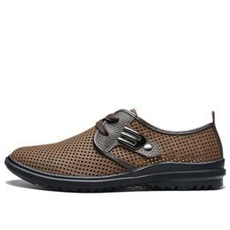 Wholesale Ventilating Lace - Size 37-44 Oxfords Men Shoes Black Brown Yellow Summer Shoes Men 2017 New Ventilate Shoes For Men D30