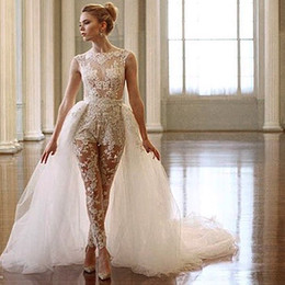 Wholesale Sheer Lace Jumpsuits - Ines Di Santo Lace jumpsuit Wedding Dresses 2017 Two In One Detachable Train Sheer Cap Sleeve Illusion Bodice Overskirt Bridal Gowns