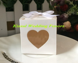 Wholesale Gift Boxes Windows - (50 Pieces Lot) Silver Wedding candy box with Love heart Window For Party gift box and wedding souvenirs Favor box Free Shipping