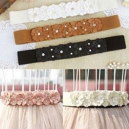 Wholesale Black Belts Elastic Stretch - Wholesale- New Women PU Leather Flower Elastic Stretch Waist Belt Girls Waistband Hot