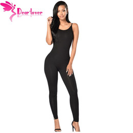 Wholesale Jumpsuits Longo - Wholesale- Dear-Lover Sexy Bodycon Women Rompers Black Spaghetti Straps Simple Stretch Jumpsuit Mujer 2016 Macacao Feminino Longo LC64106