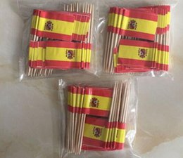 Wholesale Mini Spain Flag Paper Food Picks Dinner Cake Toothpicks Cupcake Decoration Fruit Cocktail Sticks Party Supplies