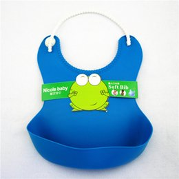 Wholesale Blue Bib Large - Large solid waterproof children eat pocket baby baby bib Bib imitation Silicone Baby pocket towel I slobber