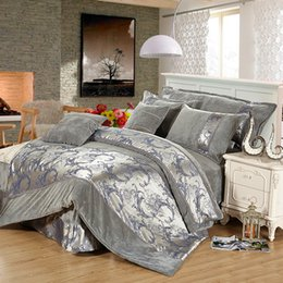 Wholesale Fleece Sheet Set Full - Wholesale- 6PCS Luxury Crystal velvet Jacquard bedding sets for wedding(1duvet cover 1 bed sheet 2 pillowcase 2 cushion cover)King queen