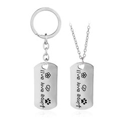 """Wholesale Key Ring Chain Link - New Rectangular Dog Tag Style Pendant Necklace Cat Dogs """" live love adopt """" Pet Rescue Paw Print Tag Jewelry Key rings"""