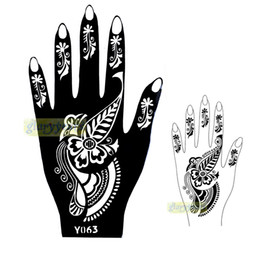 Wholesale Tattoos Pictures Designs - Wholesale-1pc New Seasons Classic Totem India Design Henna Hands Art Tattoo Template Mixture Picture Tattoo Stencils for Women Y063