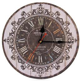Horloges murales en bois rustiques en Ligne-Vente en gros-Hot silencieux en bois décoratif rond horloge murale Antique Vintage rustique horloges murales Hight qualité en gros