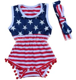 Wholesale Clothes Baby Girl Usa - summer 4th of july independence day toddler girls rompers tassel baby fourth of july american flag usa jumpsuit infant boutique clothing xd