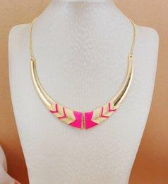 Wholesale Neon Pink Chain - Wholesale-Xl193 2015 New Fashion Black Pink neon color Short female collar necklace For Women Fine maxi necklace