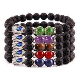 Wholesale Eye Rocks - Hot Fashion New bracelet Natural Stone Alloy Fatima Hand Evil Eye Charm Bracelet beads with volcanic rock men Jewelry Lava Yoga Bracelet