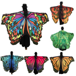 Wholesale Chiffon Big Shawl - Big girls Beach Scarf Pashmina womens Butterfly Wing Cape Scarves Peacock Poncho Shawl Wrap Novelty Print Chiffon Scarves Pashminas A00053