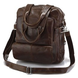"Wholesale Leather Traveling Bags - Boys and Girls Genuine Leather Backpack Traveling Bag 14"" Laptop Casual Bag Dark Grey and Chocolate Color 7065"