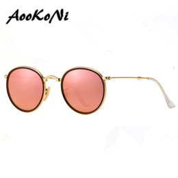 Wholesale Yellow Frame Folding - AOOKONI Newest Hot Sale Brand Designer Round Folding Retro Sunglasses Men Women UV400 Protection Gold Frame Pink Sunglasses Small Case