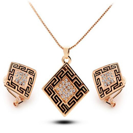 Wholesale Earings Sales - DHL Newest Arrival 18k Pendant Necklace Earrings Tetragonum Shape Earings Rhinestone Geometric for Best Gift Jewelry Set Hot Sales