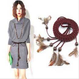 Wholesale Girdle Decoration - Wholesale- new women belts feather frosted fashion women belts knitted hot sale belts Beautiful Waist Decorations belt waistband girdle