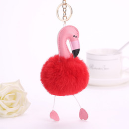 Wholesale Flamingo Handbags - Flamingo Keychains Pendant Women Bag Purse Keychain Key Holder Chuzzle Charm Handbag Car Pendant Accessories Gift free shipping