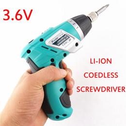 Wholesale Ion Screwdriver - LI-ION cordless screwdriver 3.6V home repair electric screwdriver 3.6V folding pistol Mini lithium rechargeable electric drill 20170107# 201