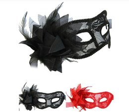 Wholesale Red Mask For Prom - Venetian Lace Mask with Flower for Masquerades, Costume Balls, Prom, Mardi Gras 3 Colors (Black Red White)
