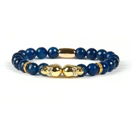 Wholesale Double Ring Chain Link - Fashion Jewelry Wholesale 8mm Faceted Blue and Black Agate Stone Micro Pave Double Skull Beaded Bracelets for men