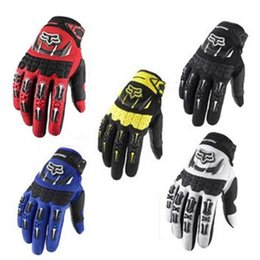 Wholesale Motorcycle Racing Leather Black - Cycling FOX Gloves Motorcycle Racing Gloves Autumn Winter Full Finger Mountain MTB Road Bike Bicycle Anti-slip Riding Mittens 4Colors