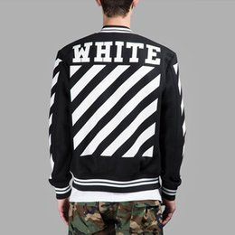 Wholesale Men Winter Cardigans - OFF-WHITE Black Varsity Jacket For Men Classic Striped Logo Print Baseball Jersey Jackets Winter Embroidery Cardigan Hood Coat CYG0417