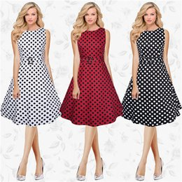 Wholesale New Wave Clothing - The new 50S professional clothing wave point large size women dress big dress skirt long dress