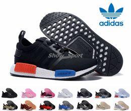 Wholesale Classic Women Running Shoes - Adidas NMD Runner R1 Primeknit White OG Triple Black Nice Kicks Men Women Running Shoes Sneakers Originals NMDS Classic Super Star Shoes