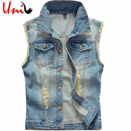 Wholesale Wholesale Denim Jackets Vests - Wholesale- Plus Size Men's Denim Vest Men Sleeveless Jacket Cowboy 2016 Brand New 5XL 6XL Washed Jeans Casual Tank Top Man Waistcoat YN748