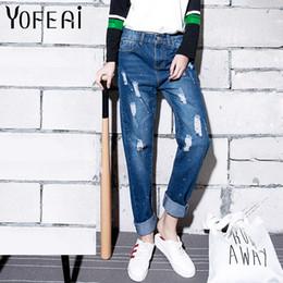 Wholesale Paints Female Jeans - Wholesale- YOFEAI 2017 Plus Size Boyfriend Pants Women Fashion Painted Denim Pants Ripped Jeans for Woman Casual Harem Pants Female