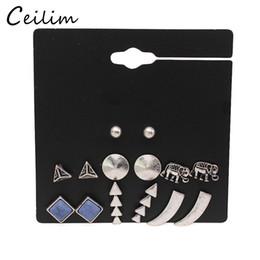 Wholesale triangle shaped jewelry - Fashion jewelry 7 pair set simple geometry shape stud earrings set for women vintage elephant & arrows & triangle stud earrings gift