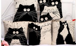 Wholesale Black Sofa Beds - Cotton Linen 18inches Black White Cartoon Cats Printed Sofa Seat Cushion Cover Living Room Bedding Pillow Case N0051