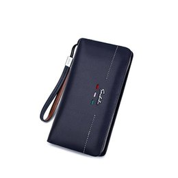 Wholesale Zipper Chain Wallet For Men - New Fashion Men Wallet Genuine Leather Purse And Handbags For Male Luxury Brand Black Zipper Men Clutches Cardpack Wallet Document Package
