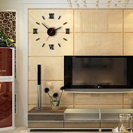 Wholesale Modern Style Interior - Wholesale- 1set Modern DIY Interior Roman Wall Clock Wall Clock 3D Sticker Home Mirror Effectest Wholesale