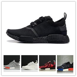 Wholesale Running Kicks - 2018 NMD Runner R1 Primeknit OG Black Triple White Nice Kicks Circa Knit Men Women Running Shoes Sneakers Originals Classic Casual Shoes