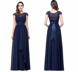 Wholesale Designer Beach Wedding - Dark Navy Cheap Bridesmaid Dresses A Line 2017 Hot Lace Chiffon Long Maid of Honor Gowns with Bow Belt Wedding Guests Wear CPS210