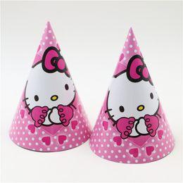 Wholesale Theme Kitty - Wholesale-6pcs New Hello Kitty Theme Cartoon Kids Girls Birthday Celebration Decoration Supplies Baby Hat Party Paper Tricorne Caps Event